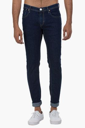 Mens 5 Pocket Skinny Fit Rinse Wash Jeans (Low Bruce Fit)