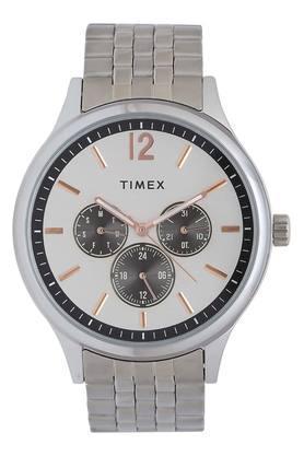 Mens White Dial Multi-Function Metallic Watch - TWEG18407