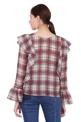 Womens Round Neck Check Shirt