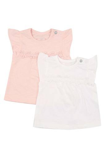 Girls Round Neck Lace Tee - Pack of 2