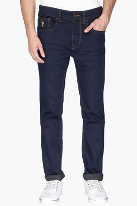 U.S. POLO ASSN. DENIM Mens 5 Pocket Skinny Fit Coated Jeans (Regallo Fit)