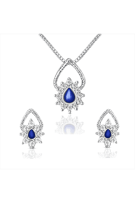 MAHI 92.5 Sterling Silver Daffodil Swarovski Zirconia Blue Pendant Set With Chain From Elysia Collection By Mahi NL3101006CBlu