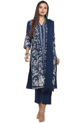Womens Mandarin Collar Embroidered Pant Suit