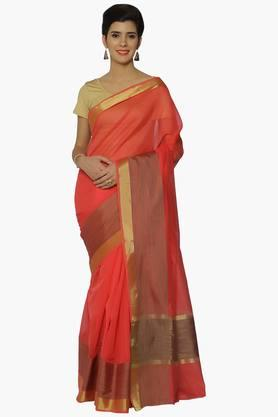 JASHN Women Chanderi Saree With Zari Border