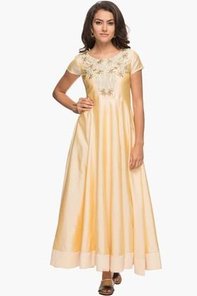 KASHISH Womens Round Neck Embroidered Maxi Dress