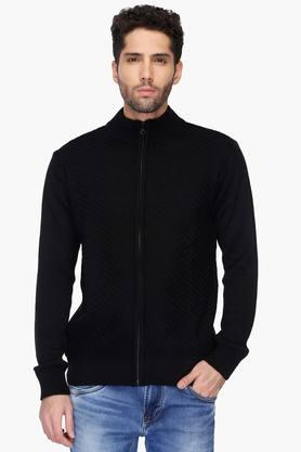 ALLEN SOLLY Mens Zip Through Neck Solid Knitted Jacket