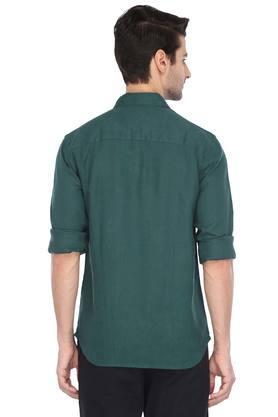 Mens Button Down Collar Slub Casual Shirt
