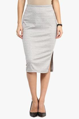 RARE Womens Solid Knee Length Skirt