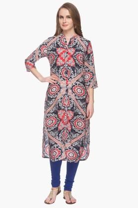 HAUTE CURRY Womens Mandarin Neck Printed Kurta