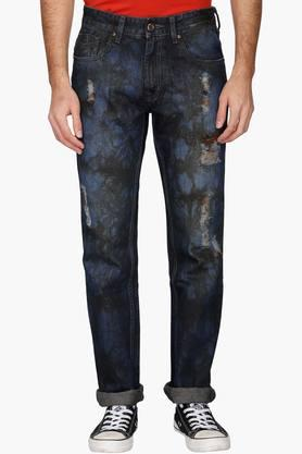 RS BY ROCKY STAR Mens Printed Mild Wash Distressing Jeans