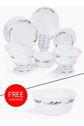 CORELLE India Impressions Celebration 30 Pcs Dinner Set With Free Curry Bowl