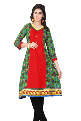 DEMARCA Womens Printed Kurta (Buy Any Demarca Product & Get A Pair Of Matching Earrings Free) - 200936921
