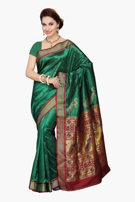 ISHINWomens Art Silk Brocade Saree