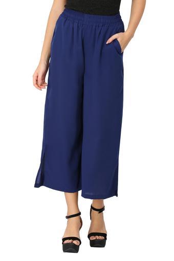 Womens 2 Pocket Slited Solid Flared Pants
