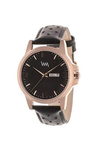 Mens Black Dial Leather Analogue Watch - AX2609l