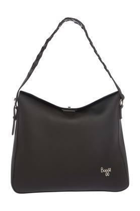 Womens Metallic Lock Closure Hobo Handbag
