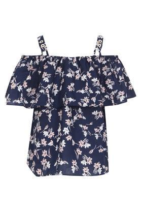 Girls Strappy Neck Floral Printed Top