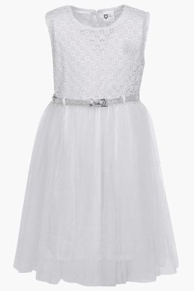 Girls Net Solid Dress (Buy worth Rs. 2495 and get Rs.300 off on 612 League & Baby League)