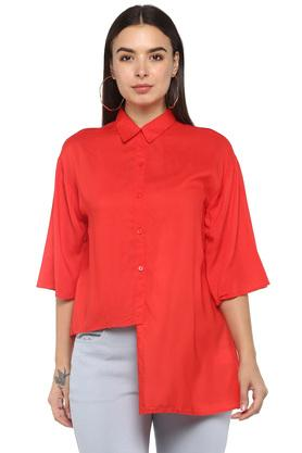 Womens Solid Asymmetrical Top