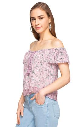 Womens Off Shoulder Neck Printed Top