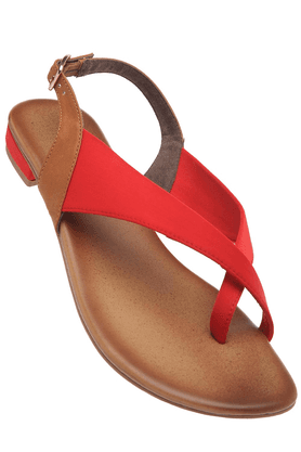 INC.5Womens Red Ankle Buckle Closure Flat Sandal