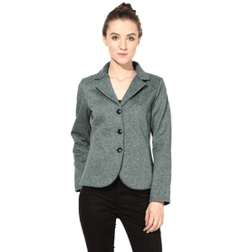 THE VANCA Women Polar Fleece Jacket In Green Color