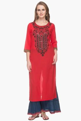 RS BY ROCKY STAR Womens Round Neck Mirror Work Kurta