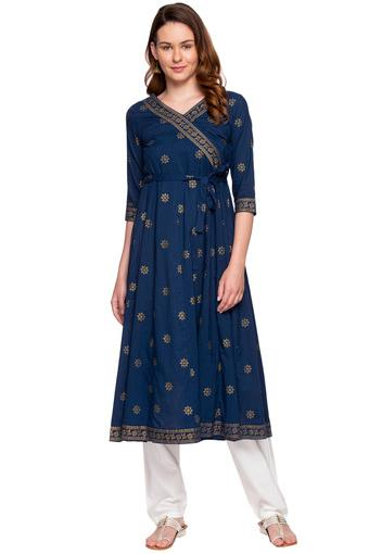 Womens V Neck Printed Churidar Suit