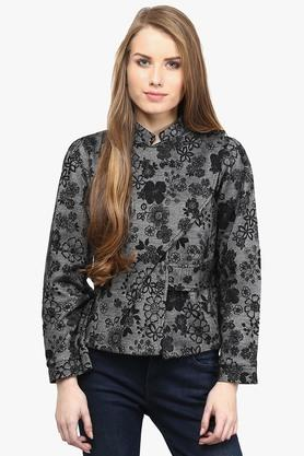Womens Mandarin Neck Embroidered Winter Jacket