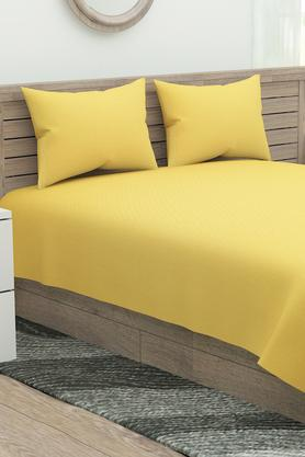 Solid Double Bed Sheet with Pillow Cover