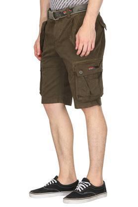 Mens 6 Pocket Solid Cargo Shorts