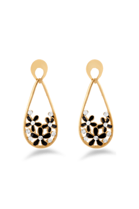 JAZZ Fashion Jewelrly Flower Design Black Jazz Jewellery Drop Earrings