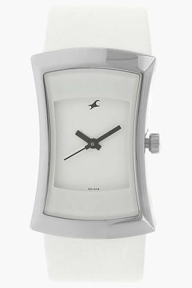 Fastrack Womens White Dial Leather Strap Watch image
