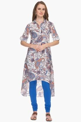 HAUTE CURRY Womens Collared High Low Printed Kurta - 201533251