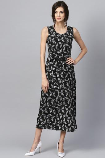 Womens Round Neck Printed A-Line Dress with Belt