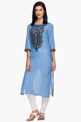 RS BY ROCKY STAR Womens Round Neck Resham Embroidered Kurta
