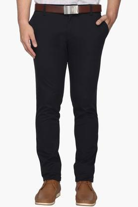 INDIAN TERRAIN Mens Slim Fit 4 Pocket Solid Trousers (Urban Fit)  ...