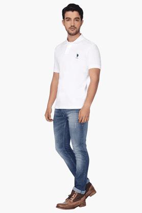 Mens Slim Fit Short Sleeves Solid Polo T-shirt