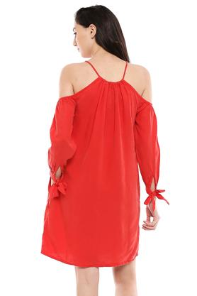 Womens Strappy Neck Solid Shift Dress