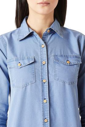 Womens Washed Buttoned Shirt Dress