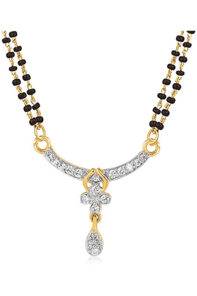MAHI Mahi Gold Plated Solemn Love Mangalsutra Pendant With CZ For Women PS1191980G2