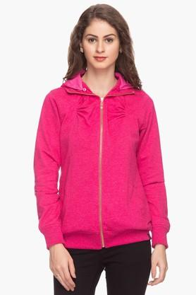 EXCLUSIVE LINES FROM BRANDS Womens Solid Hooded Sweatshirt - 201600485