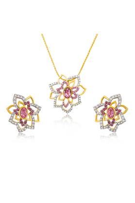 MAHI Mahi Valentine Love Gold Plated Pink Rose Flower Pendant Set Made With Swarovski Elements For Women NL1104127GPinWhi