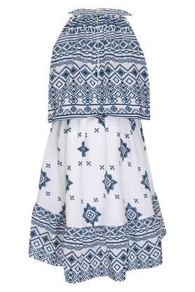 Girls Round Neck Printed Layered Dress