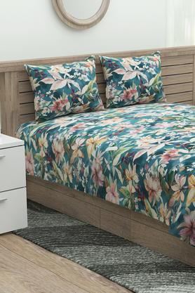 Floral Printed Flat Sheet with 2 Pillow Cover