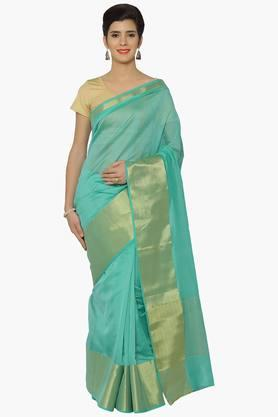 JASHN Women Chanderi Saree With Zari Border - 202378782