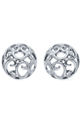 Rhodium plated Curl Round Huggies Earring for Women ER1108342RSil