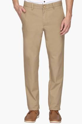 ALLEN SOLLY Mens Regular Fit 4 Pocket Solid Chinos - 202182947
