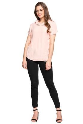 Womens Peter Pan Collar Solid Embellished Top