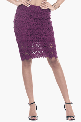 FABALLEY Womens Lace Pencil Skirt - 201559993